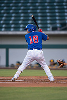 AZL Cubs 1 third baseman Orian Nunez (18) at bat during an Arizona League game against the AZL Cubs 1 at Sloan Park on June 28, 2018 in Mesa, Arizona. The AZL Athletics defeated the AZL Cubs 1 5-4. (Zachary Lucy/Four Seam Images)