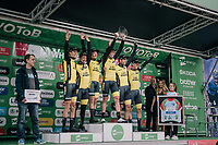 Team LottoNL-Jumbo putting in a solid ride; enough to win the stage and propell Primoz Roglic (SVK/LottoNL-Jumbo) into the GC-lead<br /> <br /> Stage 5 (TTT): Cockermouth to Whinlatter Pass (14km)<br /> 15th Ovo Energy Tour of Britain 2018