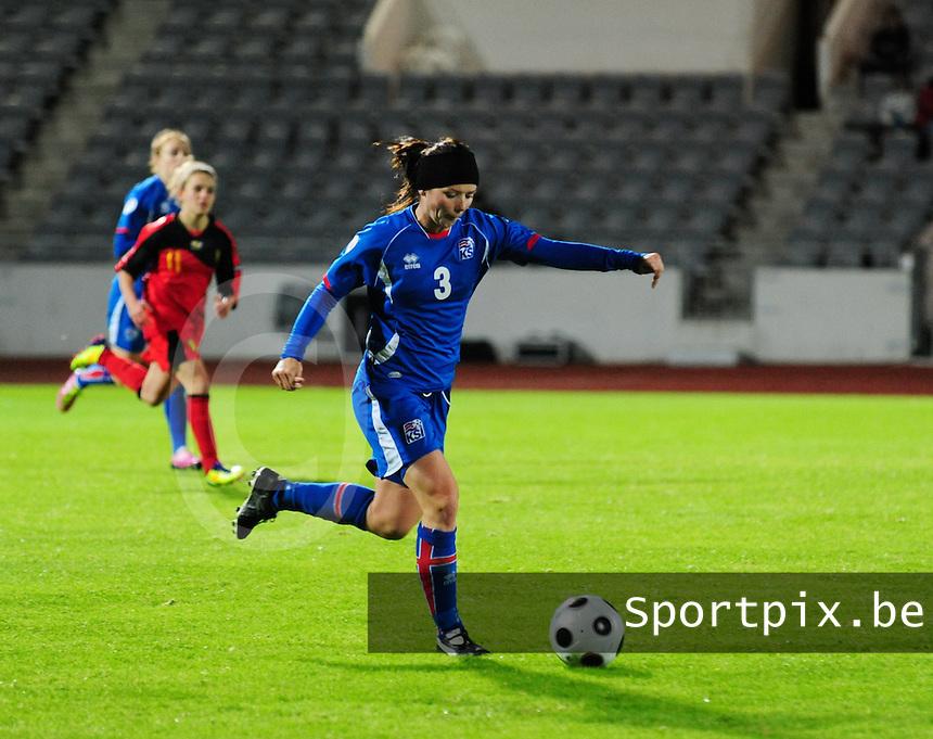 Iceland : UEFA Women's Euro Qualifying group stage (Group 3) - 21/09/2011 - 21:30CET (19:30 local time) - Laugardalsvöllur - Reykjavik : ICELAND (ijsland) - BELGIUM ( Belgie) : Olina Vidarsdottir.foto DAVID CATRY / Vrouwenteam.be