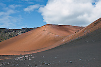 Varied mineral deposits allow for contrast of color in HALEAKALA NATIONAL PARK on Maui in Hawaii