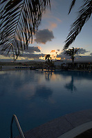 Swimming pool at dusk, Caleta Fuste harbour area, Fuerteventura, Canary islands,Spain. May 2007