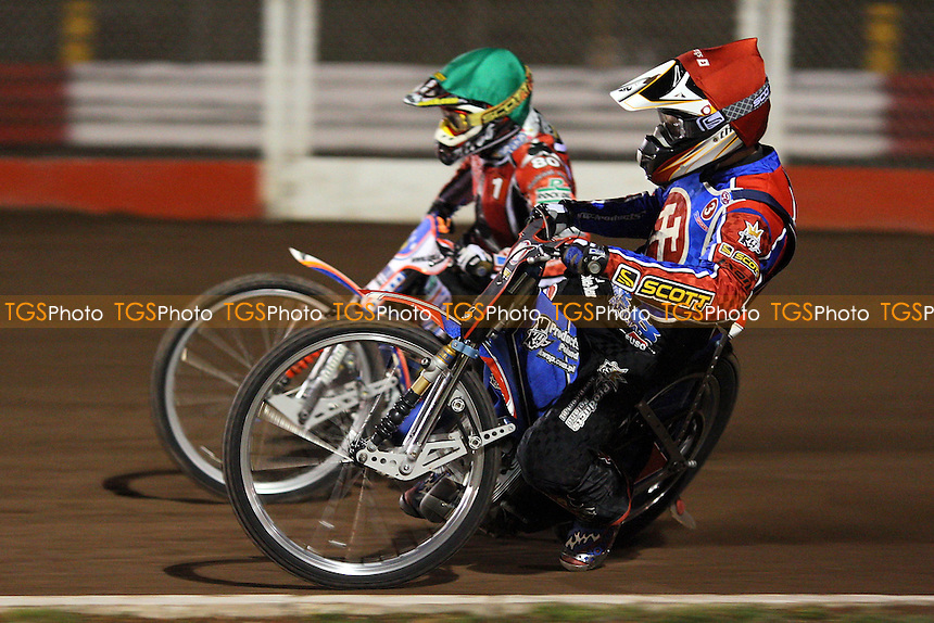 Heat 4: Crump (green) and Jonsson - Lakeside Hammers vs Belle Vue Aces - Sky Sports Elite League Speedway at Arena Essex, Purfleet - 10/09/08 - MANDATORY CREDIT: Gavin Ellis/TGSPHOTO - Self billing applies where appropriate - 0845 094 6026 - contact@tgsphoto.co.uk - NO UNPAID USE.