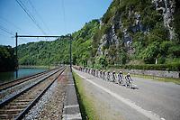 The OmegaPharma-Quickstep train is off the tracks<br /> <br /> 2014 Belgium Tour<br /> stage 4: Lacs de l'Eau d'Heure - Lacs de l'Eau d'Heure (178km)