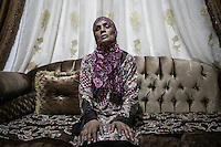 June 09, 2015 - Beirut, Lebanon: Ammal Akkar, a Palestinian refugee woman born in Tel-Al Zataar camp in East Beirut, poses for photo at her daughter's house in Shatila refugee camp. (Photo/Narciso Contreras)