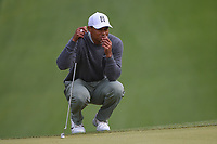 Tiger Woods (USA) lines up his putt on during day 4 of the WGC Dell Match Play, at the Austin Country Club, Austin, Texas, USA. 3/30/2019.<br /> Picture: Golffile | Ken Murray<br /> <br /> <br /> All photo usage must carry mandatory copyright credit (© Golffile | Ken Murray)