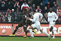 Football: Germany, 2. Bundesliga.FC St. Pauli - FC Energie Cottbus.Joseph Claude Gyau (Fc St Pauli) - Marc-Andre Kruska  (FC Energie Cottbus) .?Ǭ© pixathlon