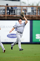 Tampa Yankees center fielder Jeff Hendrix (31) catches a fly ball during the first game of a doubleheader against the Charlotte Stone Crabs on July 18, 2017 at Charlotte Sports Park in Port Charlotte, Florida.  Charlotte defeated Tampa 7-0 in a game that was originally started on June 29th but called to inclement weather.  (Mike Janes/Four Seam Images)