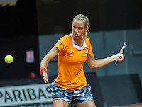 13 April, 2016, France, Trélazé, Arena Loire,   Semifinal FedCup, France-Netherlands, Dutch team warming up, Arantxa Rus<br /> Photo: Henk Koster/tennisimages