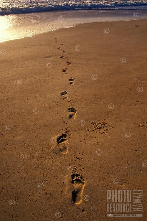Footprints in sand at Waimanalo beach