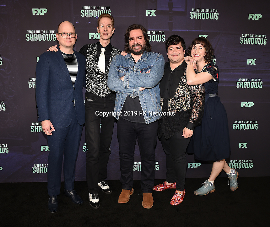 "HOLLYWOOD - MAY 22: Cast members Mark Proksch,  Doug Jones, Matt Berry, Harvey Guillen, and moderator Kristen Schaal attend FX's ""What We Do in the Shadows"" FYC event at Avalon Hollywood on May 22, 2019 in Hollywood, California. (Photo by Frank Micelotta/FX/PictureGroup)"