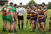 Referee Antony Petrie calls a reset to a scrum. Counties Manukau Premier Club Rugby game between Waiuku and Patumahoe, played at Waiuku on Saturday April 28th, 2018. Patumahoe won the game 18 - 12 after trailing 10 - 12 at halftime. <br /> Waiuku Brian James Contracting 12 - Apec Togafau, Nathan Millar tries, Christian Walker conversion.<br /> Patumahoe Troydon Patumahoe Hotel 18 - Vernon Comley, Riley Hohepa tries, Riley Hohepa conversion, Riley Hohepa 2 penalties.<br /> Photo by Richard Spranger