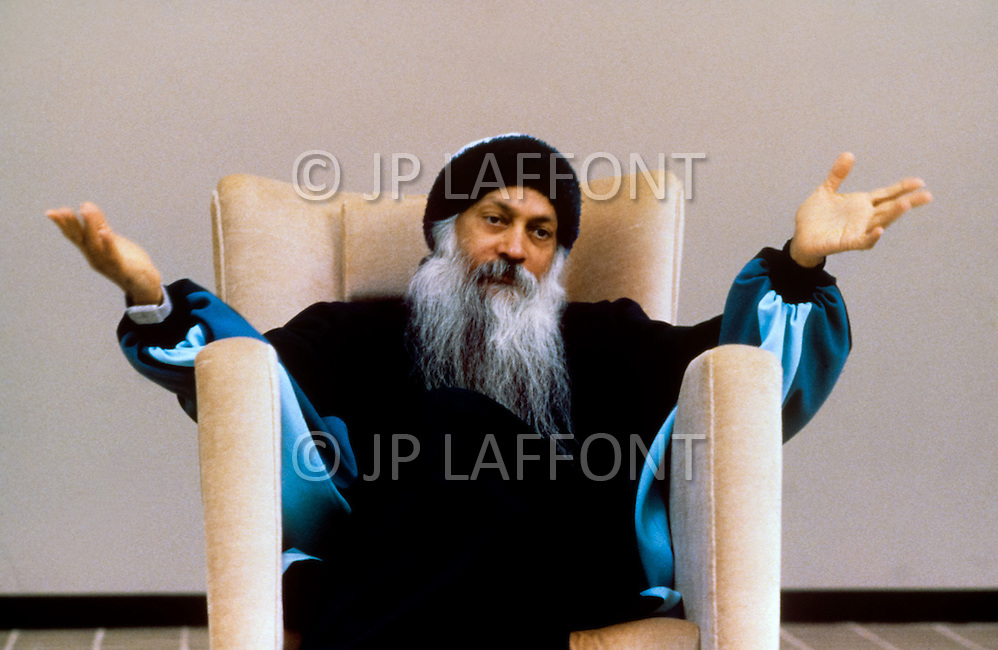 Wasco, Oregon, February 1984: Portrait of Bhagwan Rajneesh at different occasions.   Rajneeshpuram, was an intentional community in Wasco County, Oregon, briefly incorporated as a city in the 1980s, which was populated with followers of the spiritual teacher Osho, then known as Bhagwan Shree Rajneesh. The community was developed by turning a ranch from an empty rural property into a city complete with typical urban infrastructure, with population of about 7000 followers.