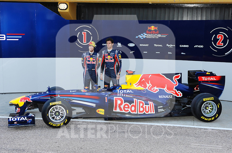 01.02.2011, Street Circuit. Jerez, ESP, Formel 1 Test 1 Valencia 2011,  im Bild  Red Bull RB7 Launch 2011 - Sebastian Vettel (GER), Red Bull Racing - Mark Webber (AUS), Red Bull Racing  Foto: nph / Dieter Mathis< gemischt >