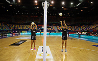 07.10.2018 Silver Ferns Aliyah Dunn and Maia Wilson warm up prior to the Silver Ferns v Australia netball test match at the Brisbane Entertainment Centre in Brisbane. Mandatory Photo Credit ©Michael Bradley.
