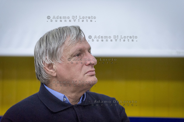 Don Luigi Ciotti during the conference, on October 08, 2015. Photo: Adamo Di Loreto/BuenaVista*photo