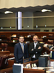 Nevada Assembly Republicans Derek Armstrong, left, and Paul Anderson pose on the Assembly floor at the Legislative Building in Carson City, Nev., on Monday, June 1, 2015. <br /> Photo by Cathleen Allison/Nevada Photo Source
