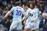 Blackburn Rovers' Bradley Dack celebrates scoring his side's second goal with team-mate Danny Graham<br /> <br /> Photographer Kevin Barnes/CameraSport<br /> <br /> The EFL Sky Bet Championship - Blackburn Rovers v Swansea City - Sunday 5th May 2019 - Ewood Park - Blackburn<br /> <br /> World Copyright © 2019 CameraSport. All rights reserved. 43 Linden Ave. Countesthorpe. Leicester. England. LE8 5PG - Tel: +44 (0) 116 277 4147 - admin@camerasport.com - www.camerasport.com