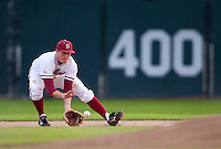 STANFORD, CA - March 25, 2011: Eric Smith of Stanford baseball fields a ground ball before stepping on second and turning a double play during Stanford's game against Long Beach State at Sunken Diamond. Stanford lost 6-3.