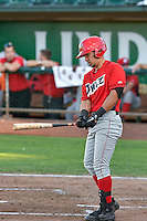 Keinner Pina (15) of the Orem Owlz at bat against the Ogden Raptors in Pioneer League action at Lindquist Field on September 9, 2016 in Ogden, Utah. This was Game 1 of the Southern Division playoff. Orem defeated Ogden 6-5. (Stephen Smith/Four Seam Images)