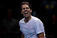 15th November 2019; 02 Arena. London, England; Nitto ATP Tennis Finals; Rafael Nadal (Spain) celebrates as he beats Stefanos Tsitsipas (Greece) 2 sets to 1 - Editorial Use