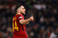 Roma s Kostas Manolas celebrates at the end of the Uefa Champions League quarter final second leg football match between AS Roma and FC Barcelona at Rome's Olympic stadium, April 10, 2018. Roma won 3-0 (4-4 on aggregate) to join the semifinals.<br /> UPDATE IMAGES PRESS/Riccardo De Luca