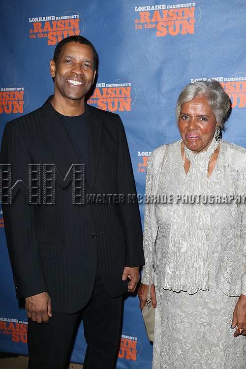 "Denzel Washington with Lorraine Hasberry Family member attends the Broadway Opening Night After Party for  ""A Raisin In The Sun"" at Tribeca Rooftop on April 3, 2014 in New York City."