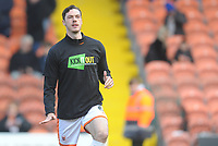 Blackpool's Ben Heneghan during the pre-match warm-up <br /> <br /> Photographer Kevin Barnes/CameraSport<br /> <br /> The EFL Sky Bet League One - Blackpool v Peterborough United - Saturday 13th April 2019 - Bloomfield Road - Blackpool<br /> <br /> World Copyright &copy; 2019 CameraSport. All rights reserved. 43 Linden Ave. Countesthorpe. Leicester. England. LE8 5PG - Tel: +44 (0) 116 277 4147 - admin@camerasport.com - www.camerasport.com