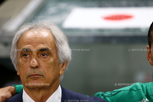 Vahid Halilhodzic (JPN),<br /> JUNE 7, 2016 - Football / Soccer :<br /> Japan's head coach Vahid Halilhodzic listens to the national anthem of Japan before the Kirin Cup Soccer 2016 Final match between Japan 1-2 Bosnia and Herzegovina at Suita City Football Stadium in Osaka, Japan. (Photo by Kenzaburo Matsuoka/AFLO)