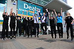 FREE PIC - NO REPRO FEE<br /> 24/09/2015 - Blackpool, Cork<br /> Staff members of Dealz jumping for joy at the official opening of the new Dealz store at Blackpool Retail Park, Cork.<br /> Pic: Brian Lougheed