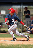 March 22, 2010:  Tyler Moore of the Washington Nationals organization during Spring Training at the Carl Barger Training Complex in Melbourne, FL.  Photo By Mike Janes/Four Seam Images
