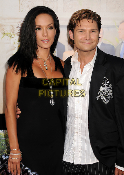 """SUSIE & COREY FELDMAN.""""Step Brothers"""" Los Angeles Premiere at Mann's Village Theatre, Westwood, California, USA..July 15th, 2008.half length black dress suit jacket white shirt married husband wife necklace .CAP/ADM/BP.©Byron Purvis/AdMedia/Capital Pictures."""