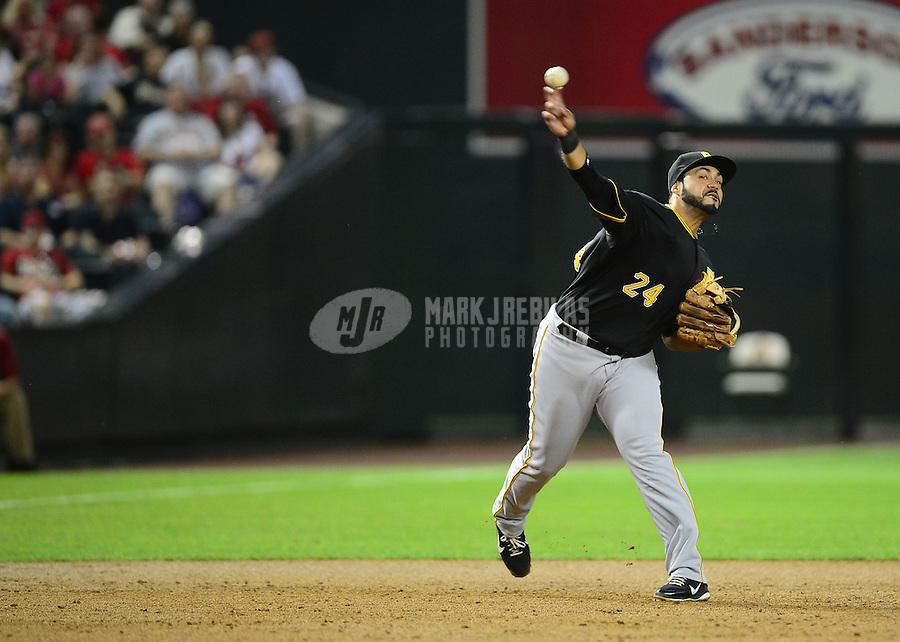 Apr. 17, 2012; Phoenix, AZ, USA; Pittsburgh Pirates infielder Pedro Alvarez throws during game against the Arizona Diamondbacks at Chase Field. Mandatory Credit: Mark J. Rebilas-