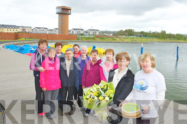 Celebrating their 100th Walk for Recovery Haven to the Wetlands. Back left to right, Phil Godsell, Helen O'Connor, Helen McMahon, Pat Callaghan, Eileen McKenna, Eileen O'Shea, Catherine McKenna and Mairead O'Sullivan.  Front left to right, Maeve Higgins and Suzanne Boyle.