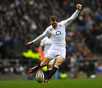 Rugby Union. Twickenham, England. Toby Flood of England kicks a penalty during the QBE international match between England and South Africa at Twickenham Stadium on November 24, 2012 in Twickenham, England.