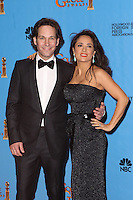 BEVERLY HILLS, CA - JANUARY 13: Paul Rudd and Salma Hayek in the press room at the 70th Annual Golden Globe Awards at the Beverly Hills Hilton Hotel in Beverly Hills, California. January 13, 2013. Credit MediaPunch Inc. /NortePhoto