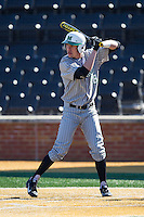 Cory Garrastazu (28) of the Marshall Thundering Herd at bat against the Georgetown Hoyas at Wake Forest Baseball Park on February 15, 2014 in Winston-Salem, North Carolina.  The Thundering Herd defeated the Hoyas 5-1.  (Brian Westerholt/Four Seam Images)
