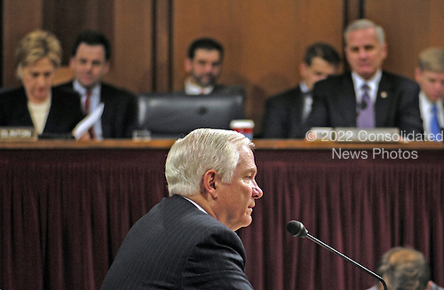 Washington, D.C. - December 5, 2006 -- United States Secretary of Defense-designate Dr. Robert M. Gates responds to a question regarding his confirmation during a United States Senate Armed Services Committee hearing in Washington, D.C. on Tuesday, December 5, 2006.  <br /> Credit: Cherie A. Thurlby - DoD via CNP