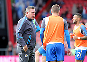 30th September 2017, Vitality Stadium, Bournemouth, England; EPL Premier League football, Bournemouth versus Leicester; Leicester Manager Craig Shakespeare gives instruction to Jamie Vardy during warm up