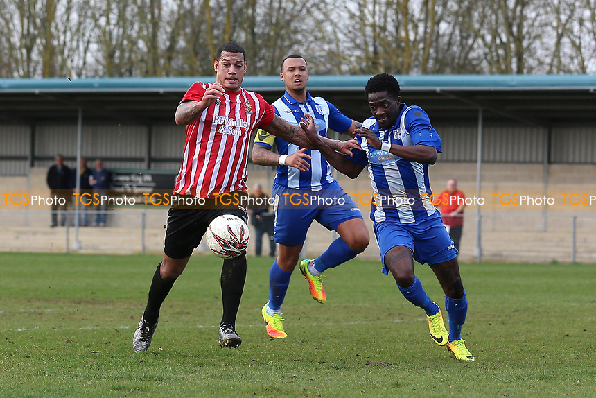 Leon McKenzie of Hornchurch tangles with Alah Oudji of Ware during Ware vs AFC Hornchurch, Ryman League Division 1 North Football at Wodson Park on 11th March 2017