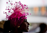 LOUISVILLE, KENTUCKY - MAY 04: A woman wearing a pink fascinator during Thurby at Churchill Downs on May 4, 2017 in Louisville, Kentucky. (Photo by Scott Serio/Eclipse Sportswire/Getty Images)