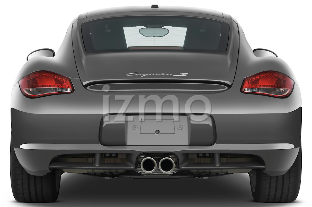 Straight rear view of a 2009 Porsche Cayman S