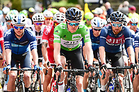 Picture by SWpix.com - 04/05/2018 - Cycling - 2018 Tour de Yorkshire - Stage 2: Barnsley to Ilkley - Yorkshire, England - The peloton rolls out of Barnsley with JLT's Alistair Slater on the front.