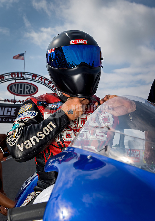 Sept. 1, 2013; Clermont, IN, USA: NHRA pro stock motorcycle rider Craig Treble during qualifying for the US Nationals at Lucas Oil Raceway. Mandatory Credit: Mark J. Rebilas-