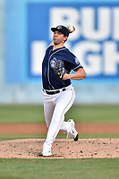 Asheville Tourists starting pitcher Riley Pint (32) delivers a pitch during a game against the Greenville Drive at McCormick Field on April 14, 2017 in Asheville, North Carolina. The Drive defeated the Tourists 6-0. (Tony Farlow/Four Seam Images)