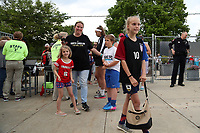 Cary, NC - Saturday April 22, 2017: First fans prior to a regular season National Women's Soccer League (NWSL) match between the North Carolina Courage and the Portland Thorns FC at Sahlen's Stadium at WakeMed Soccer Park.