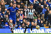 2nd December 2017, Stamford Bridge, London, England; EPL Premier League football, Chelsea versus Newcastle United; Jacob Murphy of Newcastle United is under pressure from Daniel Drinkwater of Chelsea