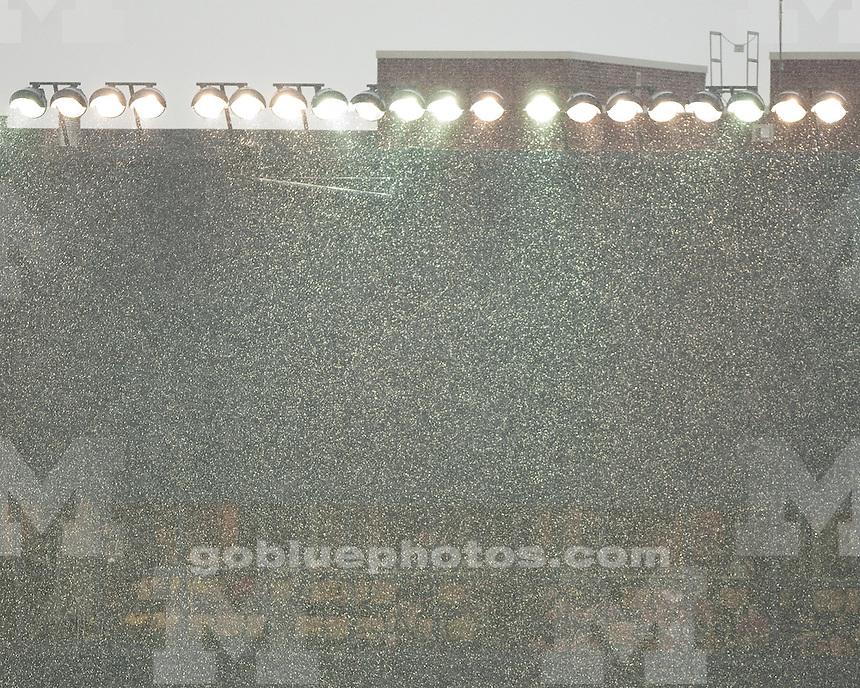 The University of Michigan football team beat Western Michigan University 34-10 in a rain-shortened game at Michigan Stadium in Ann Arbor, Mich., on September 3, 2011.