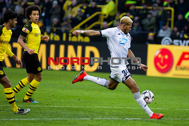 09.02.2019, Signal Iduna Park, Dortmund, GER, 1.FBL, Borussia Dortmund vs TSG 1899 Hoffenheim, DFL REGULATIONS PROHIBIT ANY USE OF PHOTOGRAPHS AS IMAGE SEQUENCES AND/OR QUASI-VIDEO<br /> <br /> im Bild | picture shows:<br /> Torschuss Joelinton (Hoffenheim #34),  <br /> <br /> Foto &copy; nordphoto / Rauch