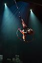 London, UK. 30.09.2013. Cirque Eloize present their new, urban, show iD, at the Peacock Theatre. The company comprises: Ignacio Adarve, Lisa Eckert, Nicolas Fortin, Nadia Lumley, Justine Methe-Crozat, Batiste Montassier, Conor Neall, Forty Nguyen, Thibaut Philippe, Angel Sanchez, Jerome Sordillon, Jeremy St-Jean, Jon Larrucea, Kone Thong Vongpraseuth, Emi Vauthey.  Picture shows: Justine Methe-Crozat (Aerial Hoop). Photograph © Jane Hobson.