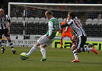 Leigh Griffiths beating Graham Carey in the St Mirren v Hibernian Clydesdale Bank Scottish Premier League match played at St Mirren Park, Paisley on 29.4.12.